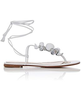 Ruffled Leather Thong Sandals
