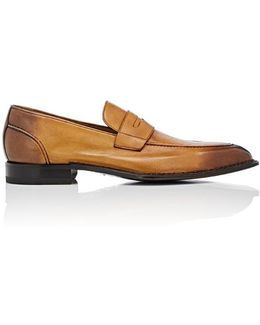 Burnished Leather Penny Loafers