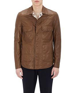 Reversible Leather Shirt Jacket