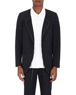 Wool Twill Collarless Sportcoat