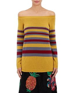 Off-the-shoulder Striped Cashmere Sweater