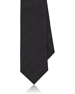 Pin Dot Striped Silk Jacquard Necktie
