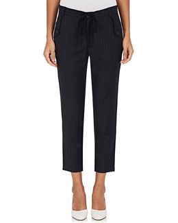 Pinstriped Worsted Crop Trousers