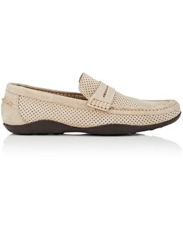 Basel Perforated Suede Penny Loafers