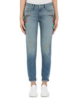 Embroidered Skinny Boyfriend Jeans