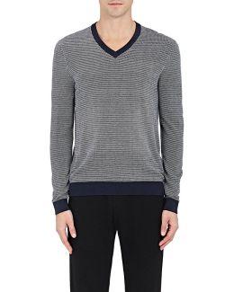 Birdseye-knit Silk-cotton V