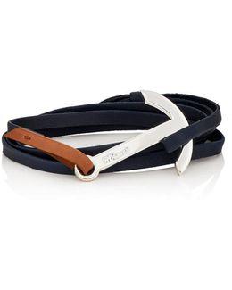 Modern Anchor On Leather Wrap Bracelet