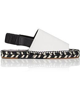 Leather Slingback Espadrille Sandals