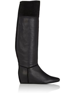 Leather & Suede Wedge Knee Boots