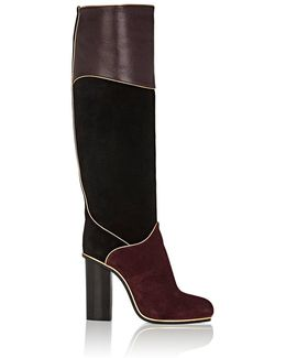 Piped Suede & Leather Knee Boots