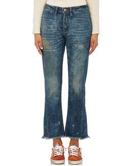 Aero Distressed Crop Flared Jeans