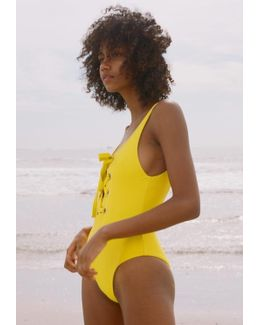 Lace Up Maillot Yellow