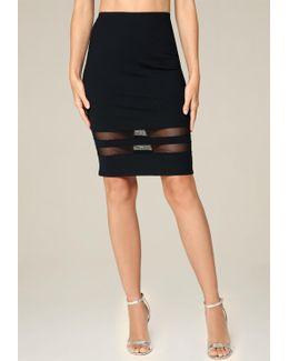 Mesh Inset Pencil Skirt