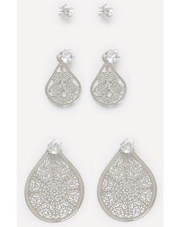 Stud & Filigree Earring Set
