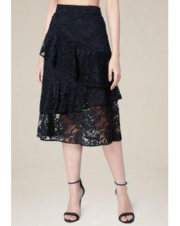 Wrap Ruffle Midi Skirt