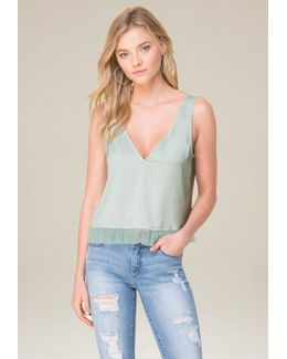 Tulle Ruffle V-neck Top
