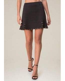 Studded Flare Hem Miniskirt