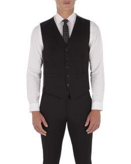 Jet Black Twill Waistcoat
