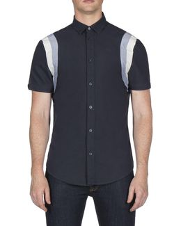 Short Sleeve Sports Panel Oxford Shirt