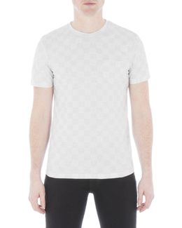 Mixed Texture Off White Checkerboard T-shirt