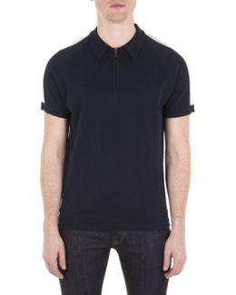Navy Short Sleeve Zip Placket Polo