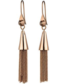 Small Rose Gold Plated Chain Tassel Drop Earrings