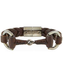 Men's Leather Horsebit Bracelet