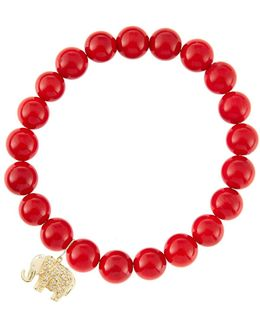 8Mm Red Coral Beaded Bracelet With 14K Yellow Gold/Diamond Small Hamsa Charm (Made To Order)