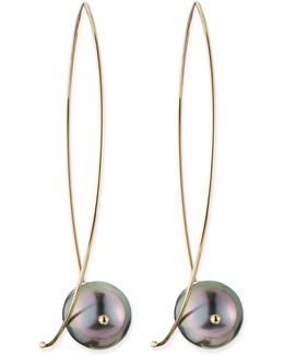 14k Gold Black Tahitian Pearl Earrings