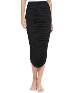 Ruched Mid-calf Coverup Skirt