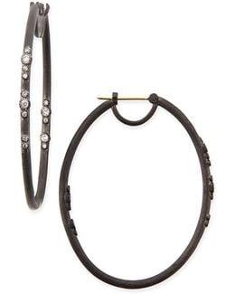 Midnight Scattered Diamond Oval Hoop Earrings
