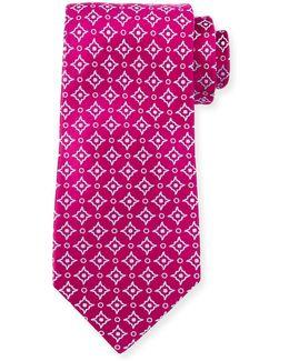 Diagonal Square & Dot-print Silk Tie