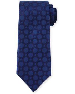 Large Dot-print Silk Tie