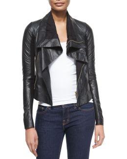 Shawl-Collar Leather Biker Jacket