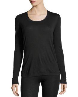 Cashmere-silk Blend Long-sleeve Top