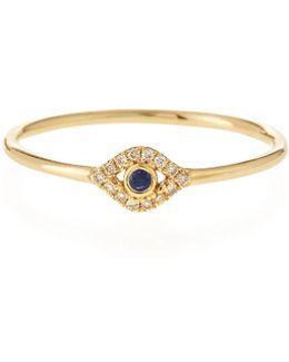 14k Gold Small Diamond Evil Eye Ring