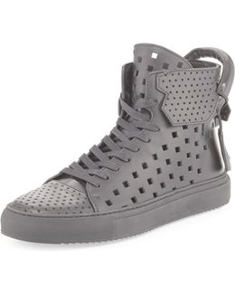 Men's 125mm Perforated Leather High-top Sneaker