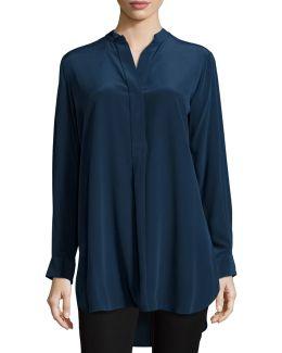 Stand Collar Silk Tunic