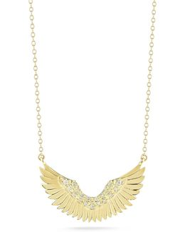 Small 14k Gold Diamond Wing Pendant Necklace
