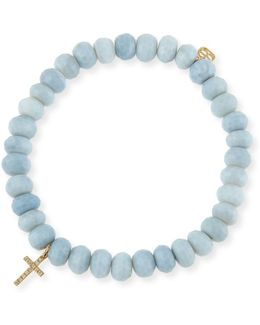 Blue African Opal Faceted Rondelle Bracelet W/ 14k Yellow Gold Cross Charm