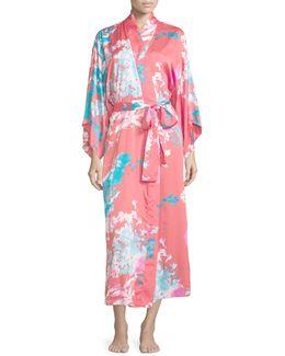 Chianti Floral-print Long Wrap Robe