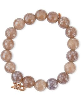 10mm Faceted Gray Chalcedony Bracelet W/ 14k Rose Gold Diamond Xo Charm