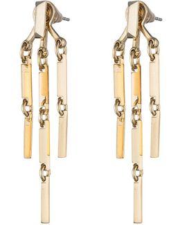 Peaked 14k Gold Link Fringe Earrings