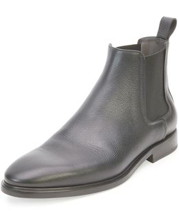 Grained-Leather Chelsea Boots