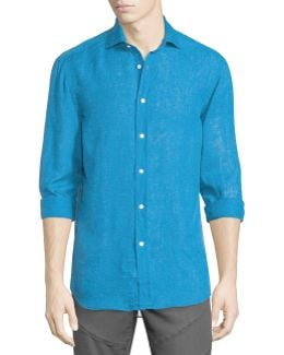 Solid Linen/cotton Long-sleeve Sport Shirt