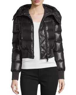 Sotiria Cropped Glossed-shell Down Jacket