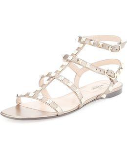 Metallic Leather Rockstud Flat Sandal