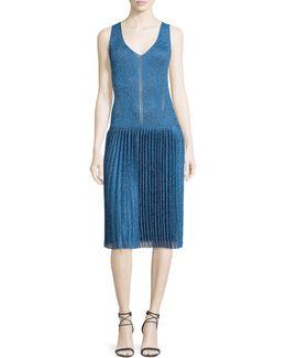Sleeveless Metallic Pleated Dress