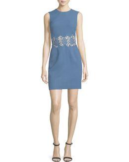 Sleeveless Crepe Sheath Dress W/lace Inset