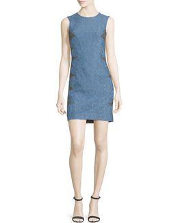 Sleeveless Lace Dress W/contrast Reverse